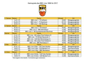 Heimspielplan 2017